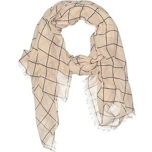 Rachel Pally Cream Grid Scarf New Summer